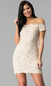 Image of short nude lace off-the-shoulder party dress. Style: MD-D15704CMR Front Image