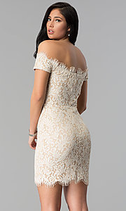 Image of short nude lace off-the-shoulder party dress. Style: MD-D15704CMR Back Image