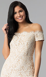 Image of short nude lace off-the-shoulder party dress. Style: MD-D15704CMR Detail Image 1