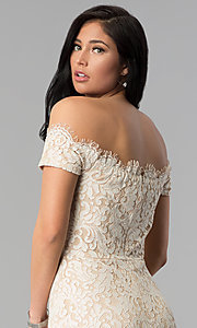 Image of short nude lace off-the-shoulder party dress. Style: MD-D15704CMR Detail Image 2