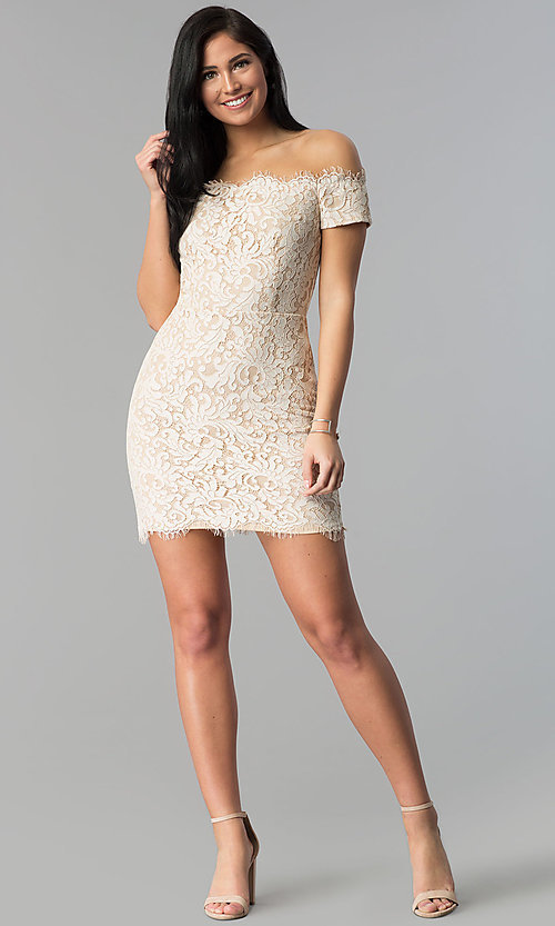Image of short nude lace off-the-shoulder party dress. Style: MD-D15704CMR Detail Image 3