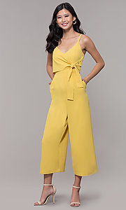 Image of graduation party cropped-leg v-neck jumpsuit. Style: MD-JS15809CP Detail Image 2