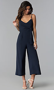 Image of graduation party cropped-leg v-neck jumpsuit. Style: MD-JS15809CP Front Image