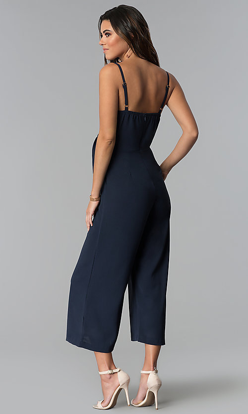 Image of graduation party cropped-leg v-neck jumpsuit. Style: MD-JS15809CP Back Image