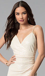 Image of knee-length ivory white sequin cocktail party dress. Style: SY-ID5159AP-I Detail Image 1