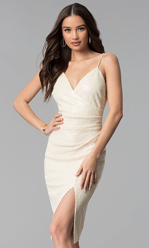 Image of knee-length ivory white sequin cocktail party dress. Style: SY-ID5159AP-I Front Image