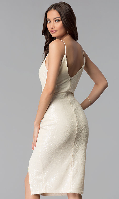 Image of knee-length ivory white sequin cocktail party dress. Style: SY-ID5159AP-I Back Image