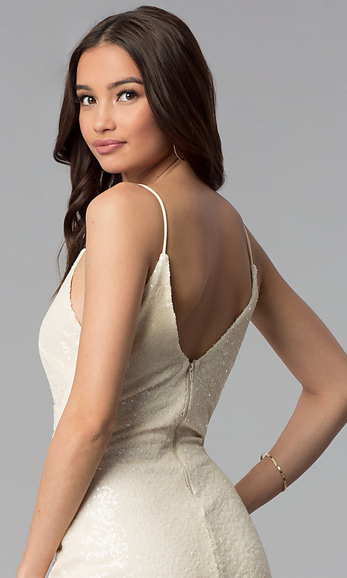 Image of knee-length ivory white sequin cocktail party dress. Style: SY-ID5159AP-I Detail Image 2