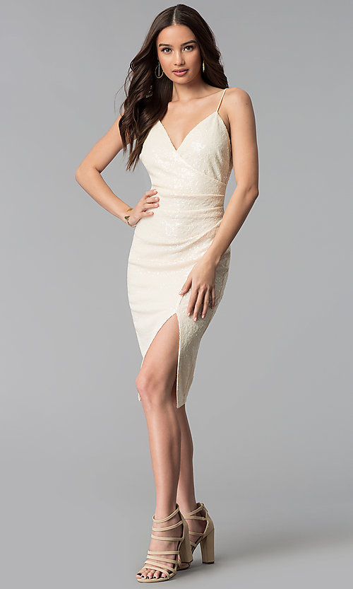 Image of knee-length ivory white sequin cocktail party dress. Style: SY-ID5159AP-I Detail Image 3