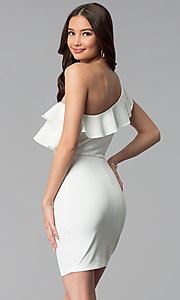 Image of short ivory ruffle-trim one-shoulder party dress. Style: SY-ID5570VP Back Image