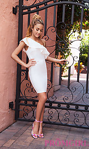 Image of short ivory ruffle-trim one-shoulder party dress. Style: SY-ID5570VP Front Image