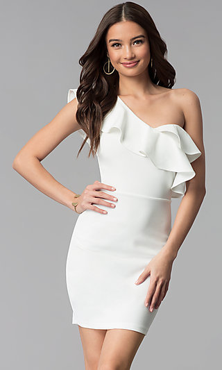 Short Ivory Ruffle-Trim One-Shoulder Party Dress