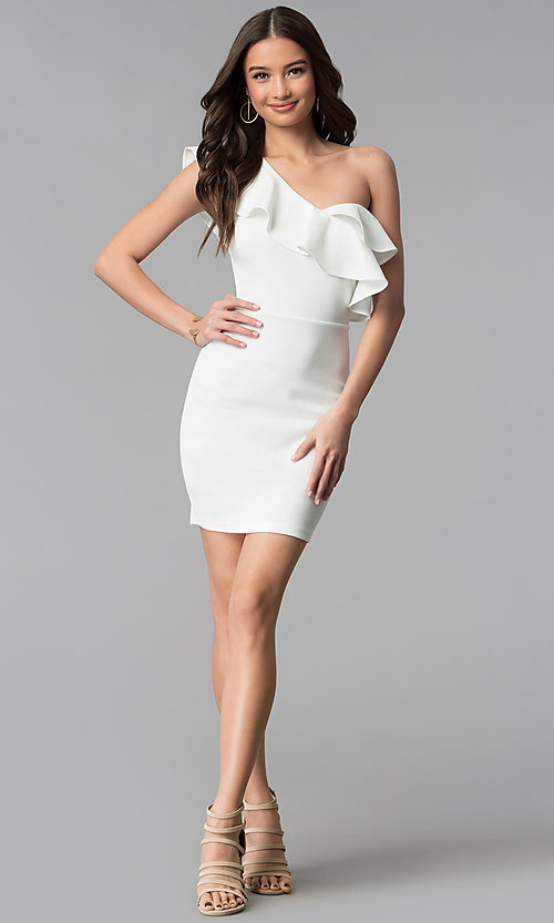 Image of short ivory ruffle-trim one-shoulder party dress. Style: SY-ID5570VP Detail Image 3