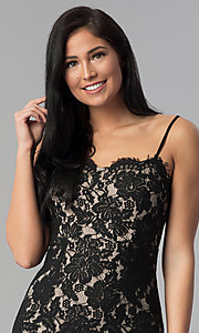 Image of black adjustable-strap short lace party dress. Style: MD-D15371CGG Detail Image 1