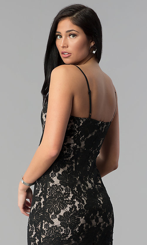 Image of black adjustable-strap short lace party dress. Style: MD-D15371CGG Detail Image 2