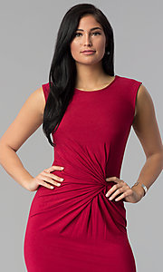 Image of shirred-waist knee-length wine red party dress. Style: MD-D14107AJE Detail Image 1