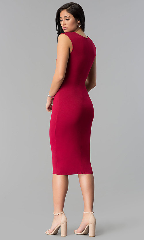 Image of shirred-waist knee-length wine red party dress. Style: MD-D14107AJE Back Image