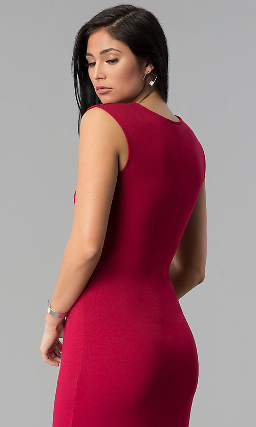 Image of shirred-waist knee-length wine red party dress. Style: MD-D14107AJE Detail Image 2