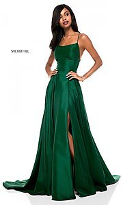 Image of square-neck Sherri Hill prom dress with open back Style: SH-52022 Detail Image 1