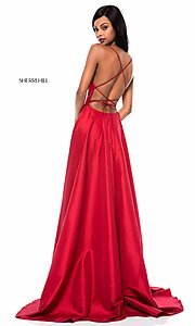 Image of square-neck Sherri Hill prom dress with open back Style: SH-52022 Back Image