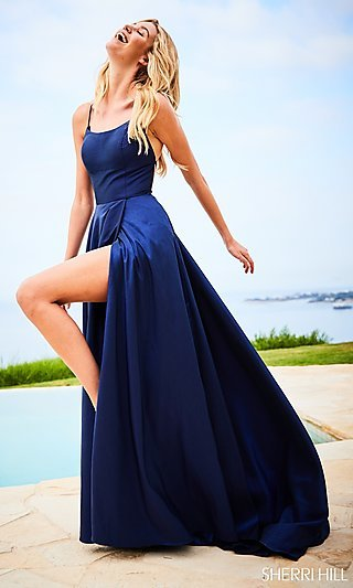 Square-Neck Sherri Hill Prom Dress with Open Back