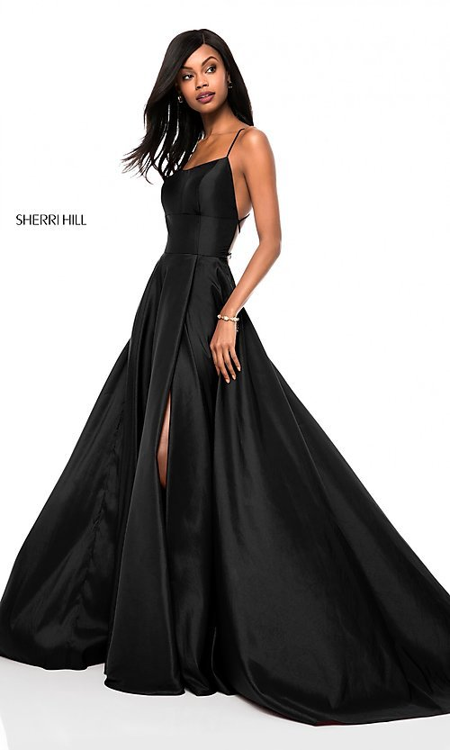 Image of square-neck Sherri Hill prom dress with open back Style: SH-52022 Front Image