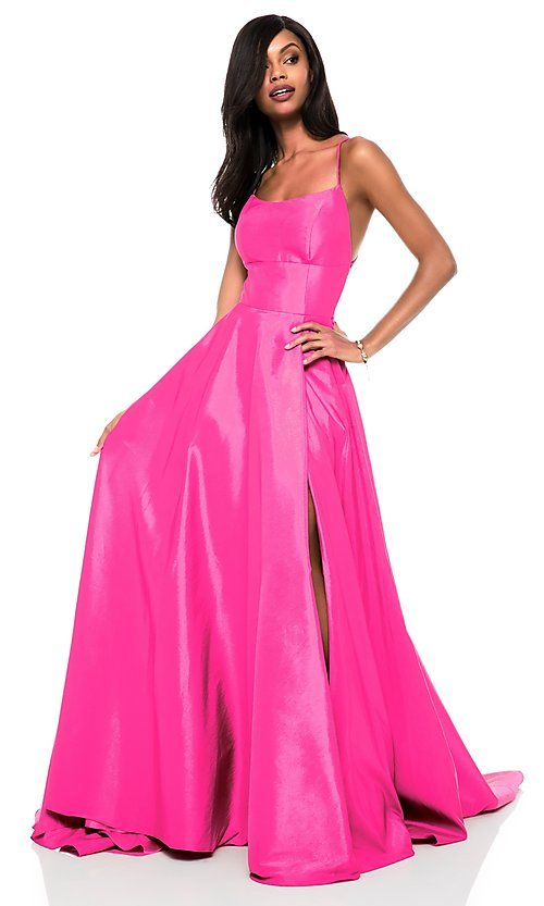 Image of square-neck Sherri Hill prom dress with open back Style: SH-52022 Detail Image 4