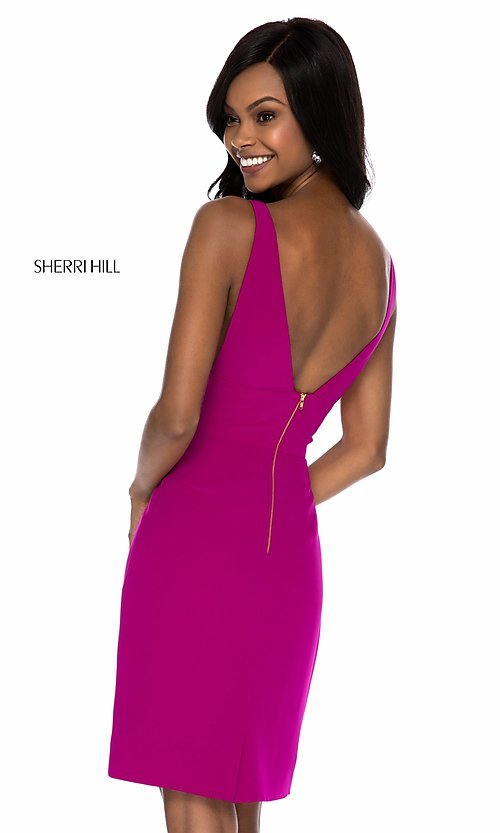 Image of short v-neck prom dress by Sherri Hill. Style: SH-S51832 Back Image