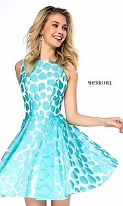 Image of short high-neck print prom dress by Sherri Hill. Style: SH-S51921 Front Image