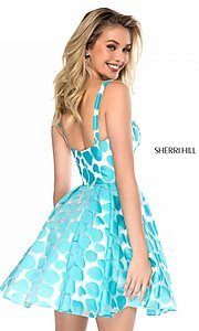 Image of short high-neck print prom dress by Sherri Hill. Style: SH-S51921 Back Image