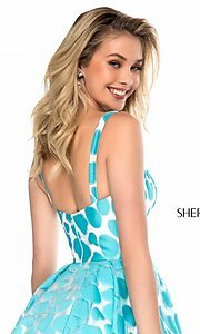 Image of short high-neck print prom dress by Sherri Hill. Style: SH-S51921 Detail Image 2