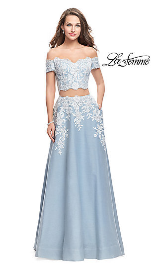 Long Embroidered Denim A-Line Prom Dress