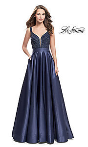 A-Line V-Neck Prom Dress with Beading
