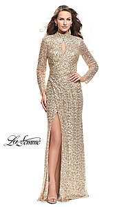 Long Gold Sequin Mock-Neck Prom Dress with Sleeves