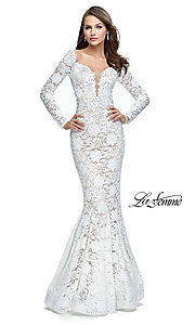Long Sleeved Lace Open-Back Prom Dress by La Femme