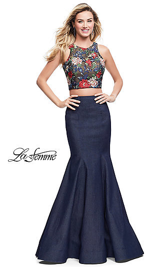 Two-Piece Long La Femme Prom Dress with Embroidered Top