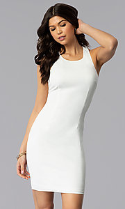 Image of white short graduation dress with multi-strap back. Style: AC-DX22076B-W Back Image