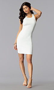 Image of white short graduation dress with multi-strap back. Style: AC-DX22076B-W Detail Image 3