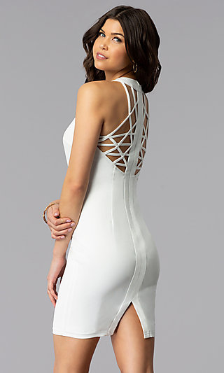 White Short Graduation Dress with Multi-Strap Back
