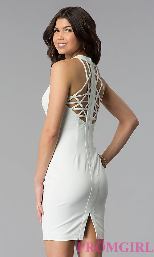 Image of white short graduation dress with multi-strap back. Style: AC-DX22076B-W Front Image