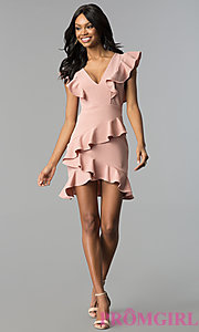 Image of v-neck short graduation party dress with ruffles. Style: SY-ID5412VP Detail Image 3