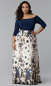 Long Print Skirt Plus-Size Wedding Guest Dress