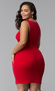 Image of short plus-size red bodycon party dress. Style: SY-IXD-5527AP Back Image
