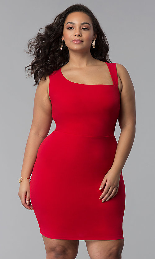 Image of short plus-size red bodycon party dress. Style: SY-IXD-5527AP Front Image