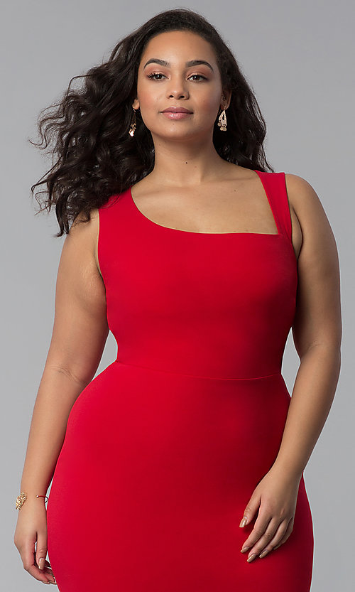 Image of short plus-size red bodycon party dress. Style: SY-IXD-5527AP Detail Image 1