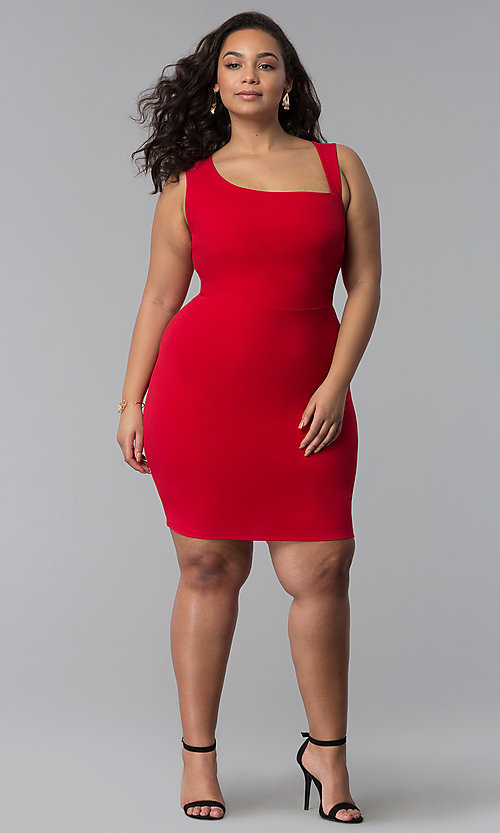 Image of short plus-size red bodycon party dress. Style: SY-IXD-5527AP Detail Image 2