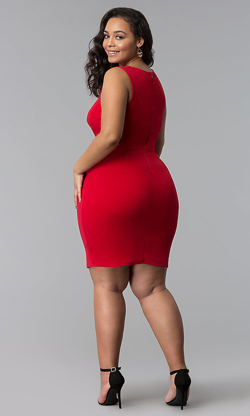 Image of short plus-size red bodycon party dress. Style: SY-IXD-5527AP Detail Image 3