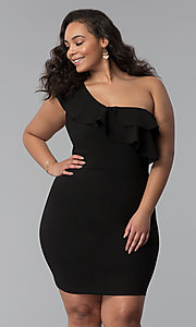 Image of one-shoulder black short plus-size party dress. Style: SY-IXD-5570VP Front Image