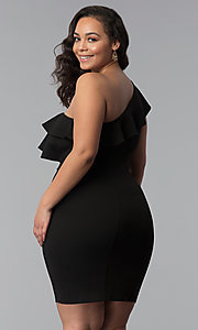 Image of one-shoulder black short plus-size party dress. Style: SY-IXD-5570VP Back Image