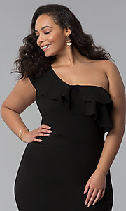 Image of one-shoulder black short plus-size party dress. Style: SY-IXD-5570VP Detail Image 1